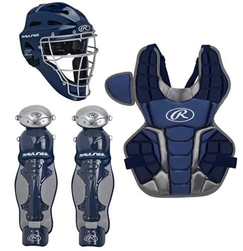 Rawlings Renegade 2.0 Youth NOCSAE Baseball Protective Catcher's Gear Set, Navy and Silver, RCSNY-N/SIL
