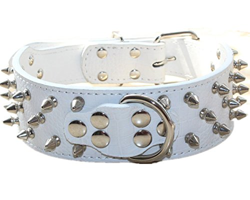 haoyueer Collar de perro de cuero con tachuelas de bala de 5 cm de ancho, elegantes collares de cuero para perros medianos y grandes Pitbull … (L, blanco)