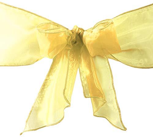 LA Leinen-Organza-Schärpen, Stuhlschleifen Pack of 100 Gold