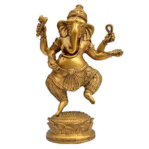JPVGIA Budismo Tibetano latón 4 Armas Elefante Jambhala Riqueza Dios Estatua de Buda