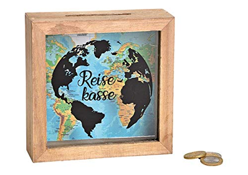 MC Trend Spardose Reisekasse Travel The World Urlaub Weltreise Traumreise Spar-Büchse Reise Geld Geschenk-Idee Wünsche (Reisekasse)