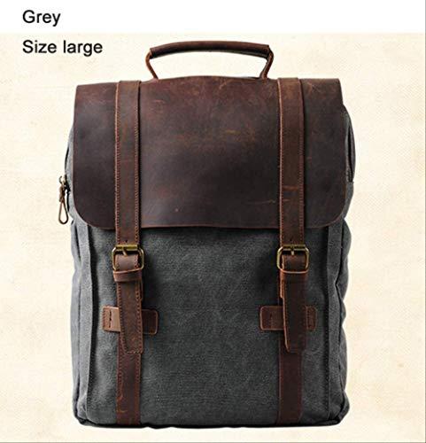 YMKWQF Sac À Dos Vintage Fashion Backpack Leather Military Canvas Backpack Men Backpack Women School Backpack School Bag Backpack Rucksack Grey Size Large
