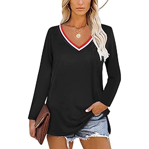 レディースかわいい長袖TシャツTシャツカジュアルブラウストップスVネックスウェットシャツレディーストップスサイドスプリットカジュアルTシャツトップスルーズTシャツブラウス,黒,XL