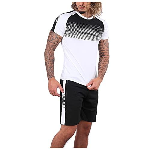 Correr Shirt Hombre Moderna Tendencia Moda Creativo Estampado Empalme Hombre Manga Corta Set Verano Básica Cuello Redondo Ajuste Delgado Shirt Diaria Cómodo All-Match Camiseta