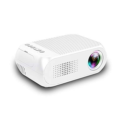 Mini Projector, Portable Video Projector, with 30000 Hours of LED Bulb Life, HD 1080P, Built-in Battery, Compatible with TV PS4, HDMI, VGA, TF, AV and USB,White