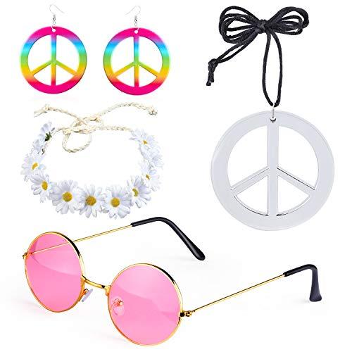 Beefunny 4 Pezzi Hippie Costume Dressing 60s Accessori Set Peace Sign Collana Flower Crown Fascia Hippie Occhiali da Sole e Orecchini (C)