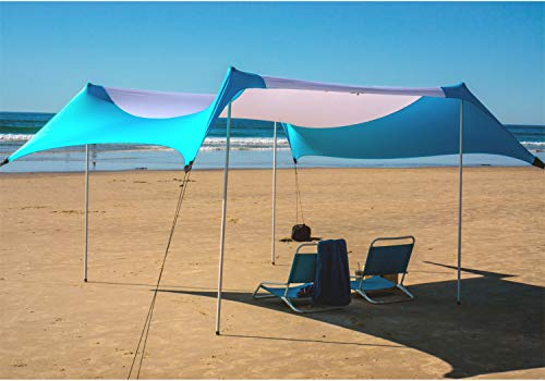 Fofana Cabana Beach Canopy - 10x10 Foot Beach Shade | Beach Tent with Sandbag Anchor | Extra Large Family Size Beach Sun Shelter with 4 Poles | UV Protection UPF50