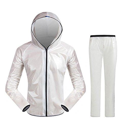 Impermeable Sportswear traje de lluvia para hombres y mujeres reutilizable (conjunto de chamarra de lluvia y pantalones de lluvia) adultos con capucha