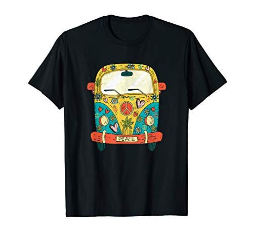 Vintage Hippie Bus T Shirt Van Road Trip Gift Tee