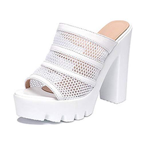Azastar Damen Sandalen Casual Peep Toe Plateau Sandalen Hochhackige Hausschuhe mit dickem Absatz Elegant Hausschuhe Sandalen