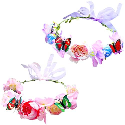 2 Piezas Bohemia Diadema de Flores Corona Flores Ajustable Cinta para el...