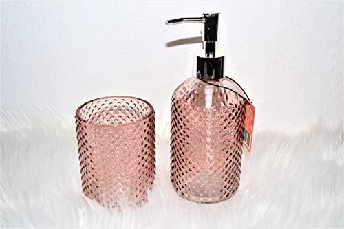 Flexible BV 2 er Set Seifenspender und Becher rosa Glas Zahnputzbecher Badezimmer Accessoire Küche Spülmittelspender