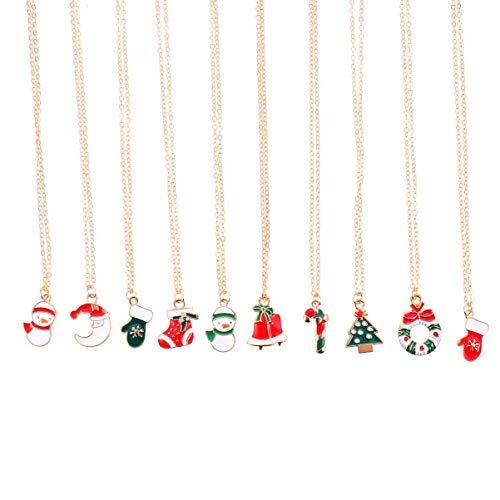 EXCEART 10pcs Weihnachten Emaille Charm Halskette Längenverstellbar Damen Mädchen Halskette mit Emaille Anhänger Schnee Handschuhe Kranz Charms Kinder Adventskalender Geschenke
