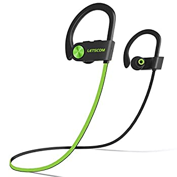 LETSCOM Bluetooth Headphones V5.0 IPX7 Waterproof Wireless Sport Earphones HiFi Bass Stereo Sweatproof Earbuds W/Mic Noise Cancelling Headset for Workout Running Gym 8 Hours Play time
