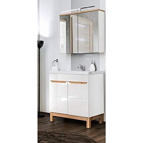 Lomadox Badmöbel Gäste WC Set, weiß Hochglanz mit Eiche hell, 80cm Waschtisch-Unterschrank mit Keramik-Waschbecken & LED-Spiegelschrank