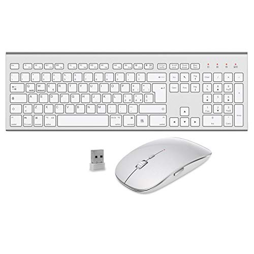 FENIFOX Tastiera e Mouse Wireless,Doppia Commutazione di Sistema Ergonomico Italiana 2.4G USB QWERTY,per Mac iMac Windows,Android,PC,Computer,Laptop,TV(Argento Bianco)