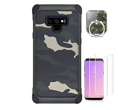 VELLYOU 3-en-1 Funda Samsung Galaxy S8 Plus Camuflaje, Anillo Soporte del Teléfono + [2-Unidades] 9H Protector de Pantalla 360° Totalmente Protegido Caso para Samsung S8 Plus, Verde
