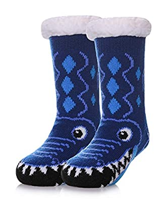 Boys Girls Cute Fuzzy Slipper Socks Soft Animal Warm Thick Fleece lined Winter Kids Toddlers Christmas Home Socks