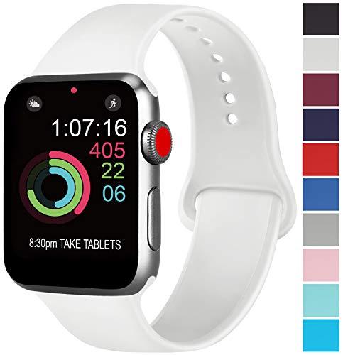 AK kompatibel mit für Apple Watch Armband 42mm 38mm 44mm 40mm, Weiche Silikon Sport Ersatz Armbänder kompatibel mit für iWatch Series 4, Series 3, Series 2, Series 1 (05 Weiß, 42/44mm S/M)