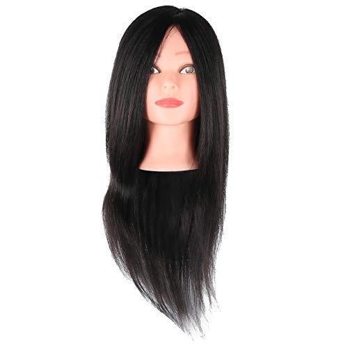 Maniquí de pelo real, cabeza de maniquí, maniquí de entrenamiento para peluquería/peluquería, 23,6~25,6 pulgadas(#1)