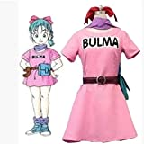 Disfraz de Cosplay de Dragon Ball Z Bulma para adultos, vestido rosa de verano para...