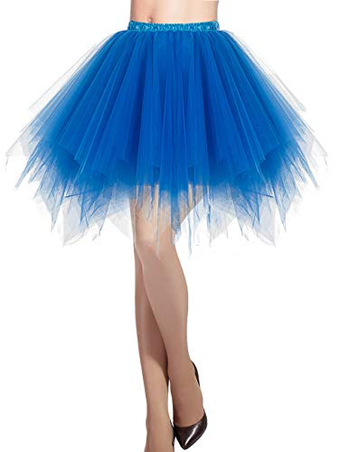 DRESSTELLS Damen Tüllrock 50er Rockabilly Petticoat Tutu Unterrock Kurz Ballett Tanzkleid Ballkleid Abendkleid Gelegenheit Zubehör Royal Blue S