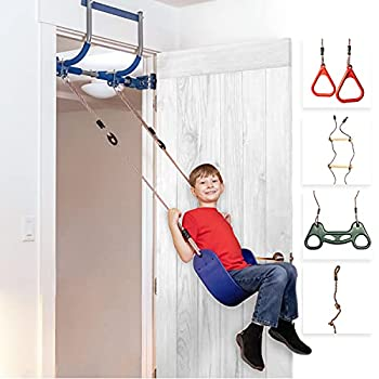 Gym1 Deluxe Indoor Doorway Gym Playground Set for Kids - All in One Gym Set - Six Ways of Fun  Blue Indoor Swing Plastic Rings Trapeze Bar Climbing Ladder Swinging Rope and Pull Up Bar