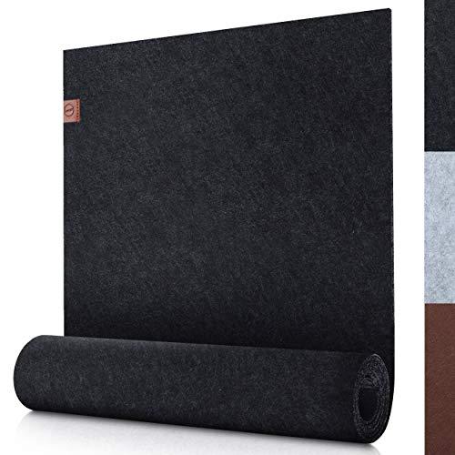 Sidorenko moderner Tischläufer aus Filz anthrazit - 150x40cm - Abwaschbare Tischdecke mit Leder Label - Skandinavischer Tischband Deko - Tisch Filzläufer für draußen - grau