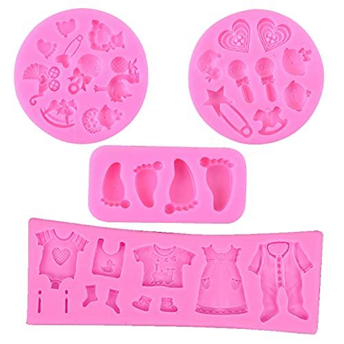 Baby Shower Fondant Decoración Silicona Mold Molde de Silicona Fondant Sugarcraft para Tartas Pies del Bebé Moldes 3D Molde de Bebé Decoración Bricolaje Dulces Chocolate Jabón Moldes(4 Piezas)