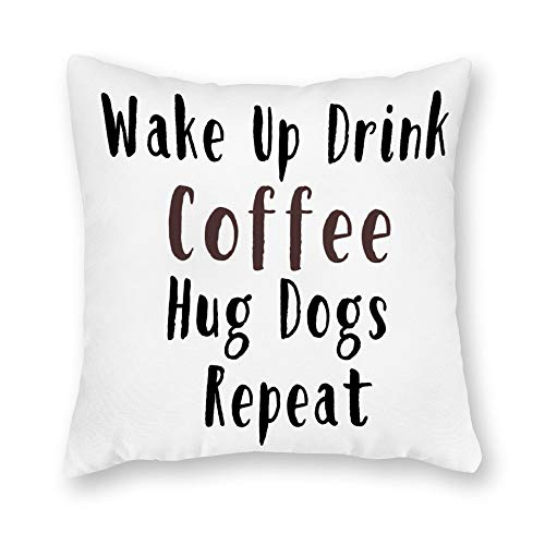 tian huan88 Velvet Cushion Cover Decorative Pillowcases for Sofa and Couch 66x66cm,Pillow Cover with Quote Wake Up Drink Coffee Hug Dogs Repeat