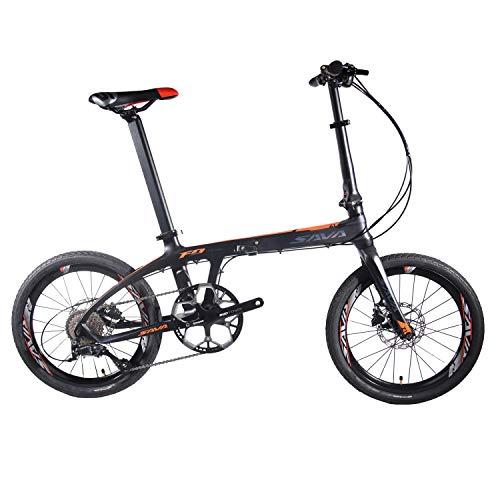 SAVADECK Z1 Klappfahrrad 20 Zoll Kohlefaser Klapprad Faltrad Klappfahrräder Mini Compact City Fahrrad mit Shimano 3000 9 Gang (Schwarz Orange)