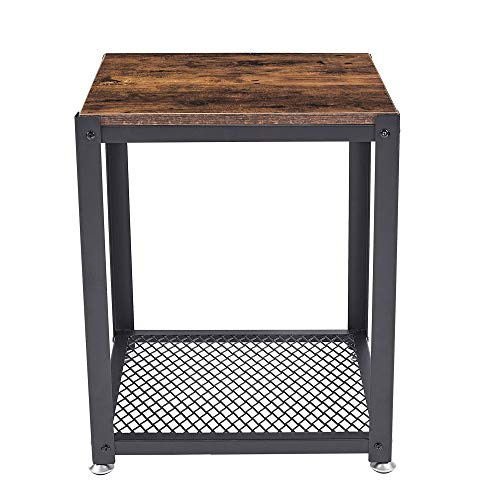 Industrial End Table, 2-Tier Side Table with Storage Shelf, Sturdy, Easy Assembly, Wood Look Accent Furniture, with Metal Frame, Rustic Brown (Brown, One Size)