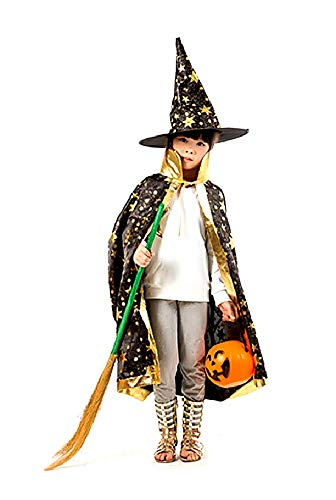 Zwart - mantel - heksenhoed - kleine heks - goochelaar - tovenaar voor kinderen - kostuum - vermomming - accessoires - carnaval - halloween - versierde gouden sterren - idee verjaardagscadeau kerst cosplay