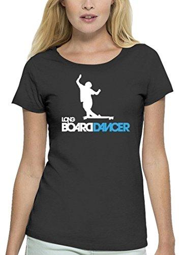 Longboarder Premium Damen T-Shirt Aus Bio Baumwolle Longboard Dancer Stanley Stella, Größe: L,Anthrazite