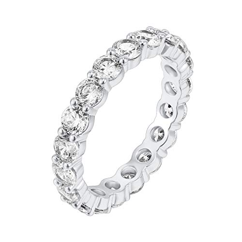 PAVOI 14K White Gold Plated Cubic Zirconia Rings | 3.0mm Eternity Bands | White Gold Rings for Women Size 5