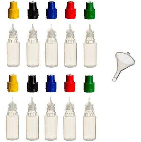 10 Stück 10 ml PP-Flaschen MIT FARBIGEN DECKELN + Füll-Trichter - Quetschflasche Leerflasche Kunststofflasche Plastikflasche Spritzflasche quetschbar zum befüllen und mischen auch Liquide