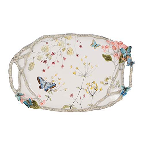 Fitz and Floyd Butterfly Fields Serving Platter Tray, Standard, Multicolored