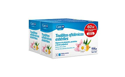 Care + Toallitas Oftálmicas - Higiene de Párpados, Pestañas y Borde Palpebral, Blanco, 60 Unidades