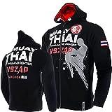 VSZAP MUAY THAI Muay Thai Sudadera Fitness Zip Sudadera con capucha MMA Lucha Lucha Chaqueta Top Artes Marciales, Krav Maga, BJJ, K1, Karate negro-L