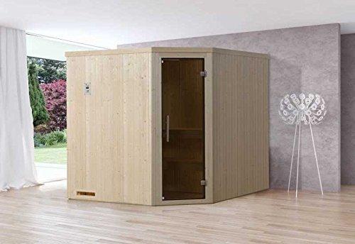 Weka element sauna 508 GT maat 4 incl. 7,5 kW bio-oven buitenafmetingen (B x D x H): 194 x 194 x 199 cm wanddikte: 68 mm ligstoel: 2 stuks ligstoel: 1 stuk Uitvoering: natuurlijke kachel: incl. 7,5 kW BioAktiv BioS-oven instap: hoekinstap