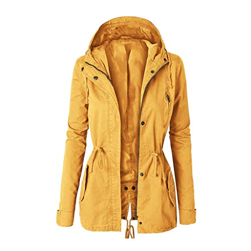 Best Deals! Women Lightweight Waterproof Outwear Zip Up Hooded Windbreaker Jacket Plus Size Button A...