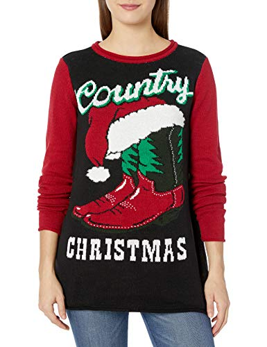 Ugly Christmas Sweater Company Women's Assorted Pullover Sweaters with Multi-Colored LED Flashing Lights, Black Light-Up Country Xmas, M