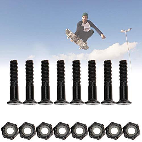 Prego de skate com porca, fino acabamento com junta de borracha Liga de alumínio Porca de skate com porca Acessório para porca de skate skate(black)