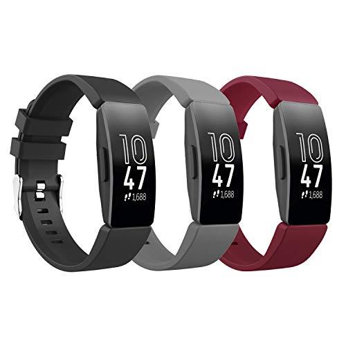 TiMOVO Pulsera Compatible con Fitbit Inspire/Inspire HR/Inspire 2/Ace 2, [3-Pack] Pulsera de Silicona, Correa de Reloj Deportivo, Banda de Reloj de Silicona - Negro y Gris y Rojo Vino