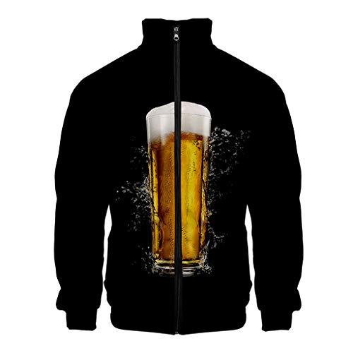 KPILP Herren 3D Druck Hoodie Langarm Pullover Winter Herbst Jacke Mantel Kapuzenpullover Reißverschluss Sweatshirt mit Stehkragen Party Cosplay Oktoberfest Outfit Jacken