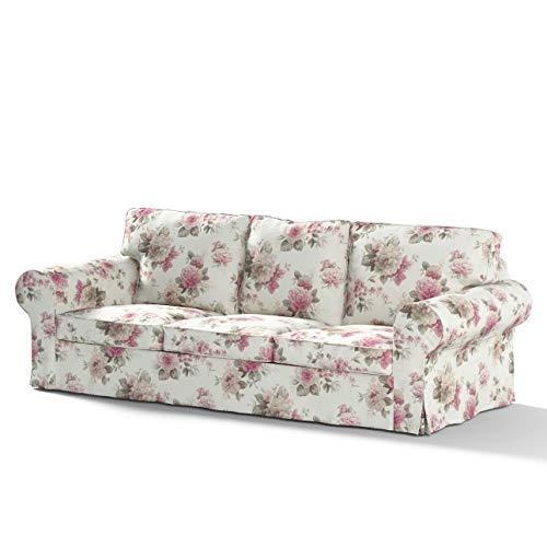 Dekoria Ektorp 3-Sitzer Sofabezug Nicht ausklappbar Sofahusse passend für IKEA Modell Ektorp beige- rosa