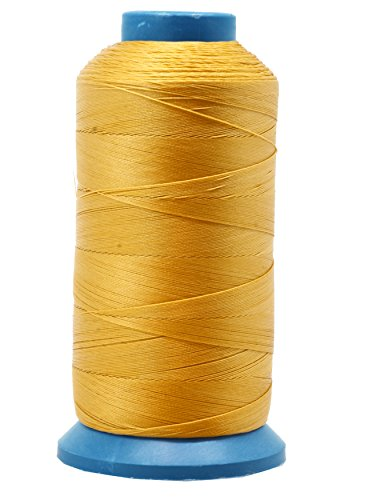 Mandala Crafts Bonded Nylon Thread for Sewing Leather, Upholstery, Jeans and Weaving Hair; Heavy-Duty; 1500 Yards Size 69 T70 (Gold)