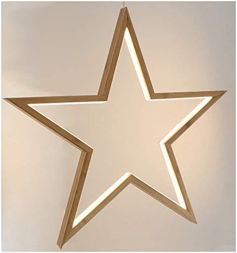 Novaliv Hängelampe LED Stern 51 cm Höhe warmweiß aus Bambus Weihnachtsstern Innen Weihnachtsdeko hängend Nachttischlampe Weihnachtsbeleuchtung Tischdeko Fensterdeko