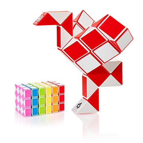 CUBIDI® Magic Snake mit 36 Blöcke - Knobelspiele für Kinder und Erwachsene - ideal als Mitgebsel Kindergeburtstag oder Kindergeburtstag Gastgeschenke oder kleine Geschenke für Kinder (Rot)