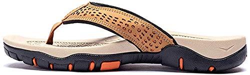 ChayChax Herren Zehentrenner Flip Flops Outdoor Sport Strand Sandalen Sommer Hausschuhe Badelatschen mit rutschfest Gummisohle,Khaki,48 EU